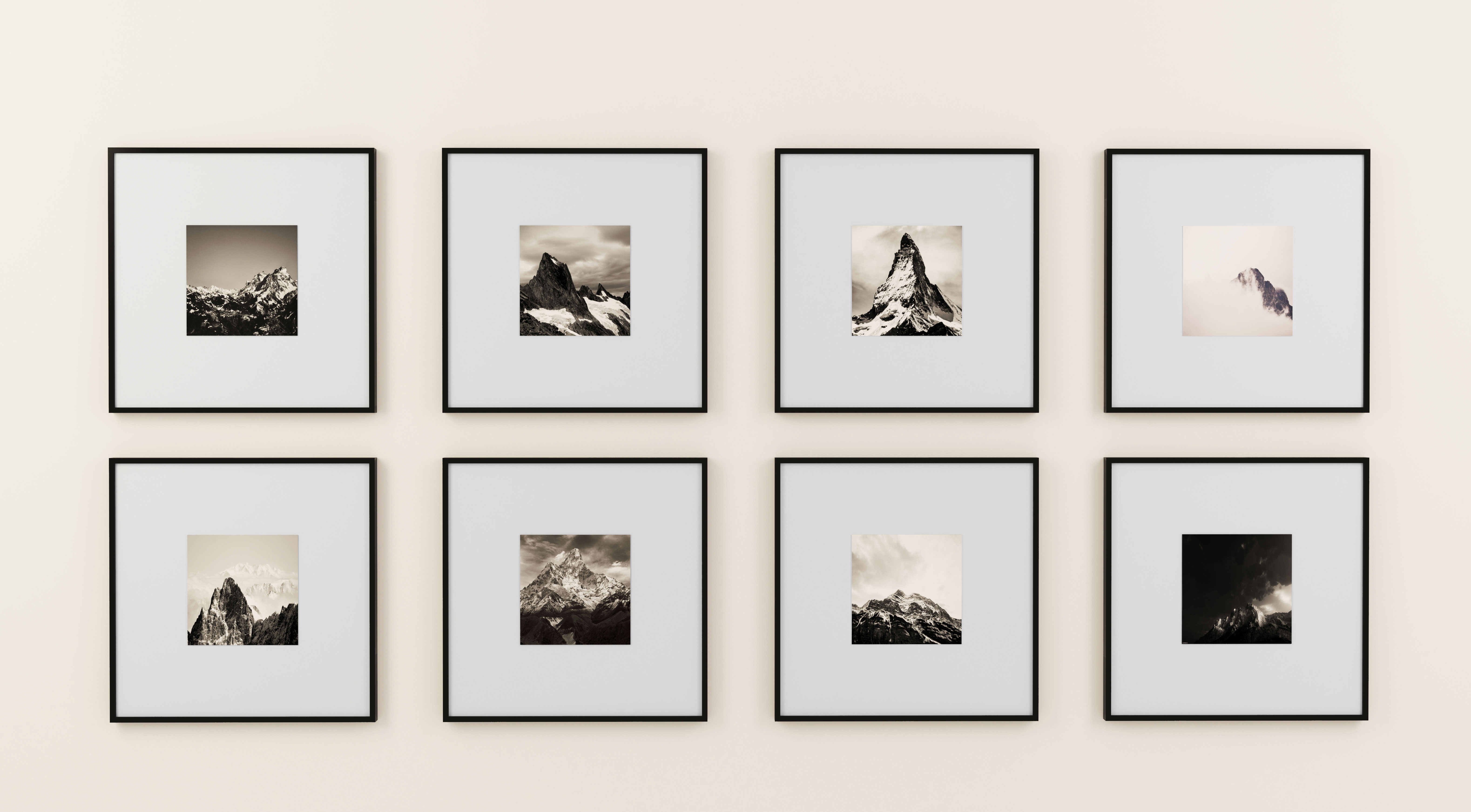 Eight Black And White Photographs Of Mountains Nicely Custom Framed